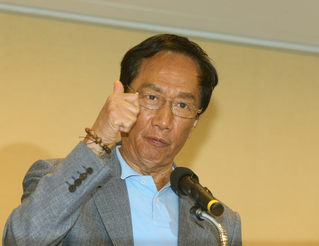 Foxconn Chairman Terry Gou at a news conference last Monday (May 6).