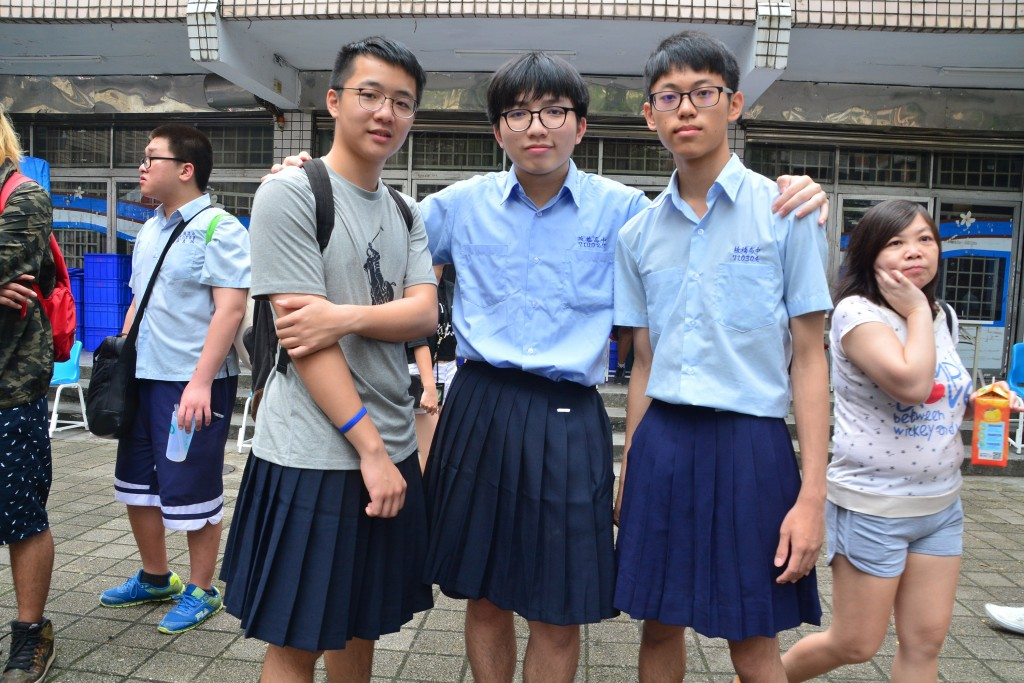 Banqiao Senior High School students mark their school's anniversary by wearing skirts.