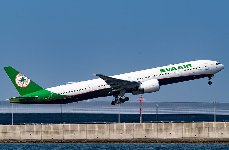 EVA Air jet taking off.