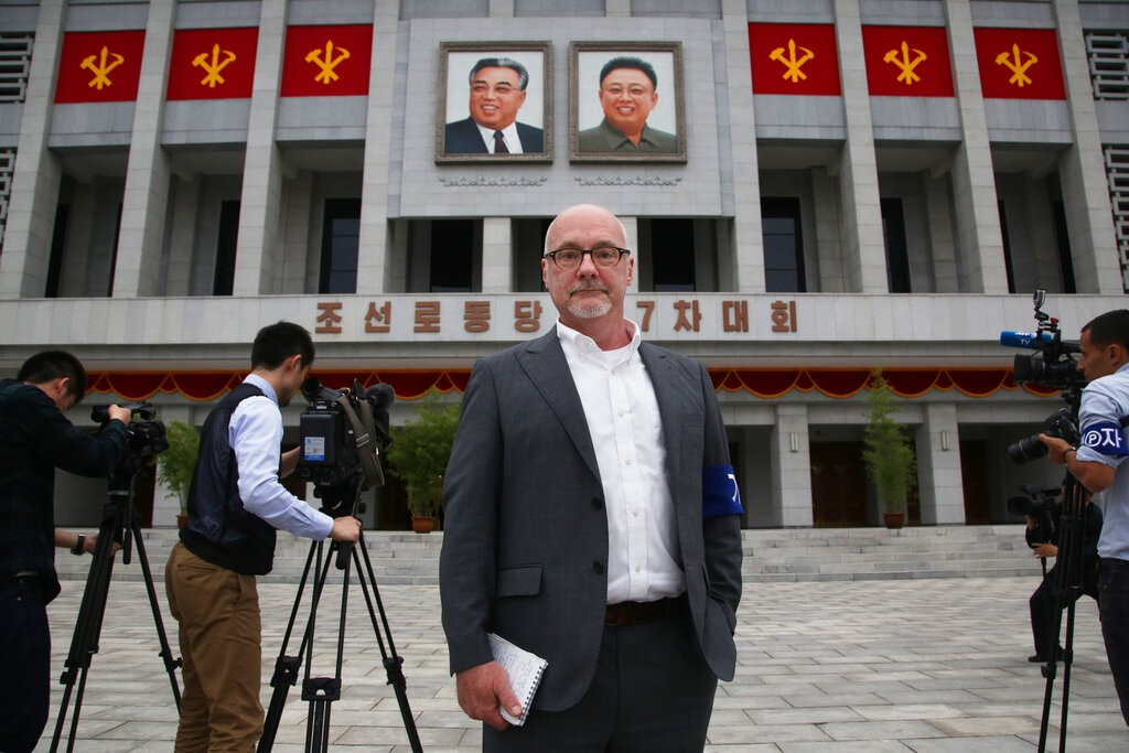 The Associated Press' North Korea Bureau Chief Eric Talmadge in front of the April 25 House of Culture where the party congress is held in the North K