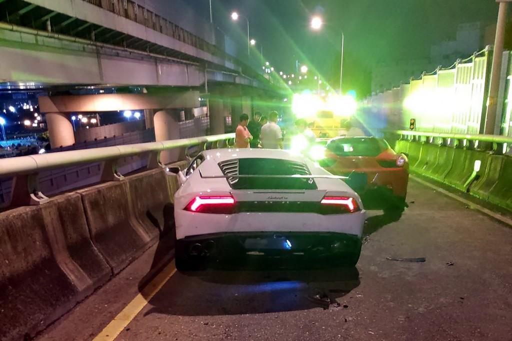 The Lamborghini (left) and the Ferrari involved in Friday night's crash.