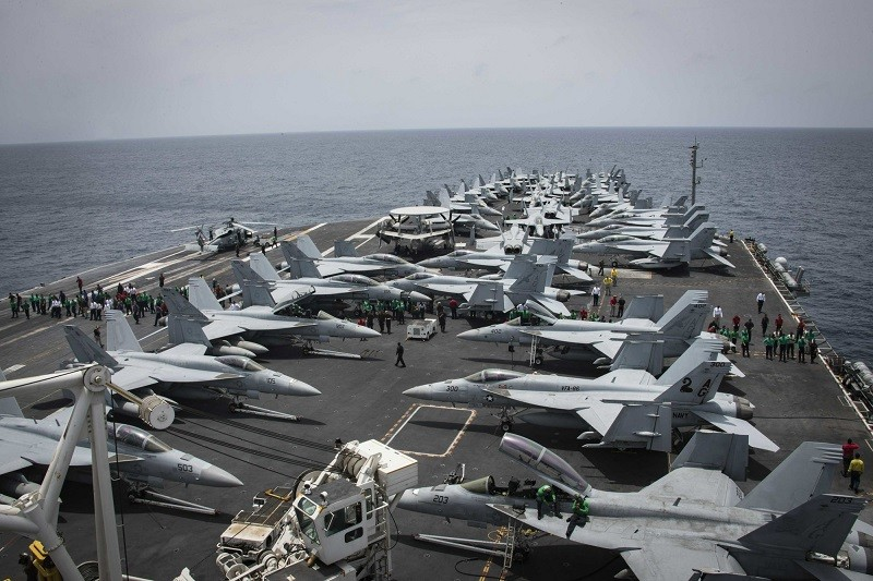 The Nimitz-class aircraft carrier USS Abraham Lincoln in the Arabian Sea. (AP photo)