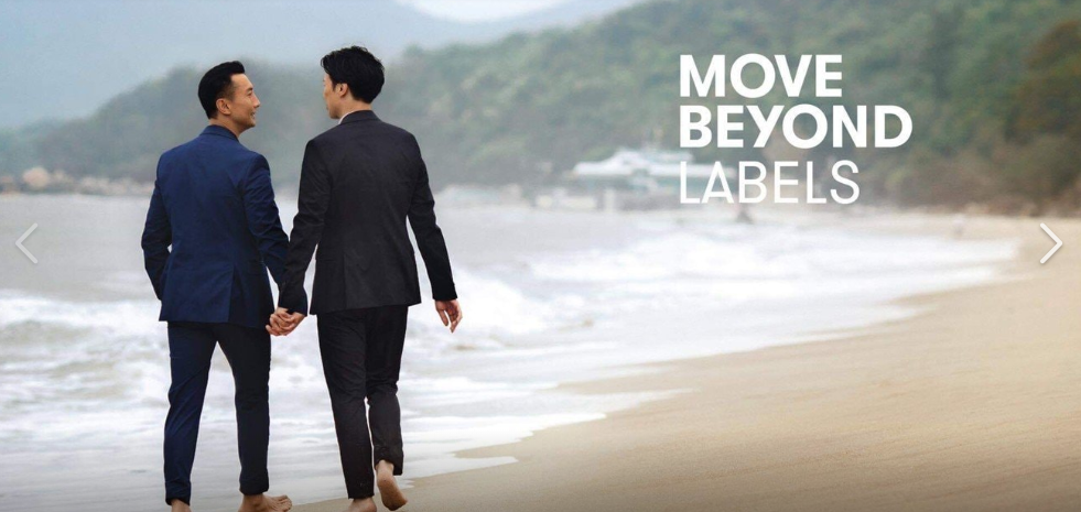 Cathay Pacific's gay-themed Move Beyond image (screenshot from Big Love Alliance Facebook page).