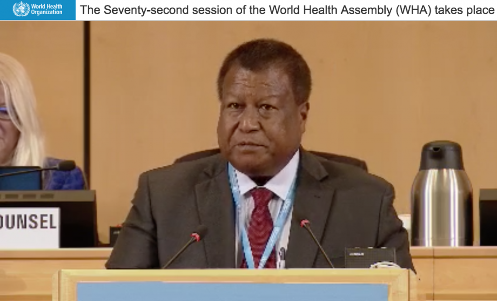 Palau's Minister of Health Emais Roberts (Screen capture from WHO Live: https://bit.ly/30c3l3x)