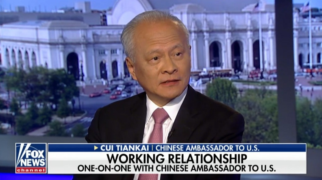 Chinese Ambassador Cui Tiankai went on Fox News to speak on trade tensions between US and China