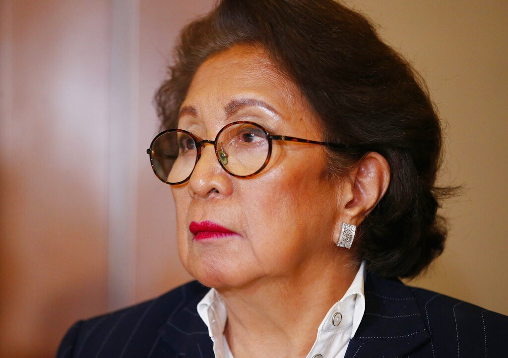 In this March 22, 2019, file photo, Philippine Supreme Court justice Conchita Carpio-Morales listens to a question during a news conference in Manila,