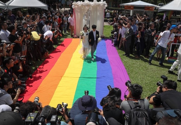 Wedding party held for same-sex newlyweds on May 24.