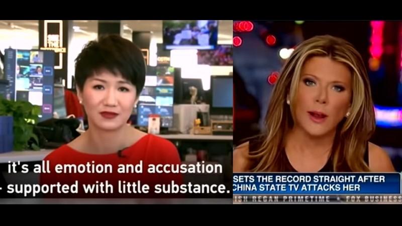 中國環球電視網(CGTN)主播劉欣(左)/福斯新聞主播黎根(Trish Regan)與(圖/影片擷圖)