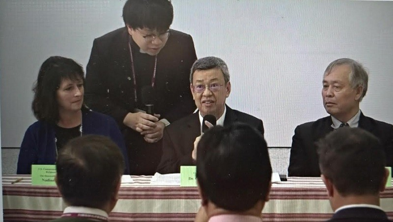 Vice President Chen Chien-jen (center, seated) addressing the Taiwan International Religious Freedom Forum (photo: Presbyterian Church YouTube channel...