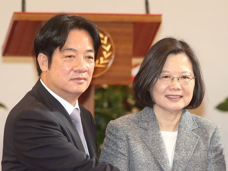 DPP presidential contenders William Lai (left) and Tsai Ing-wen