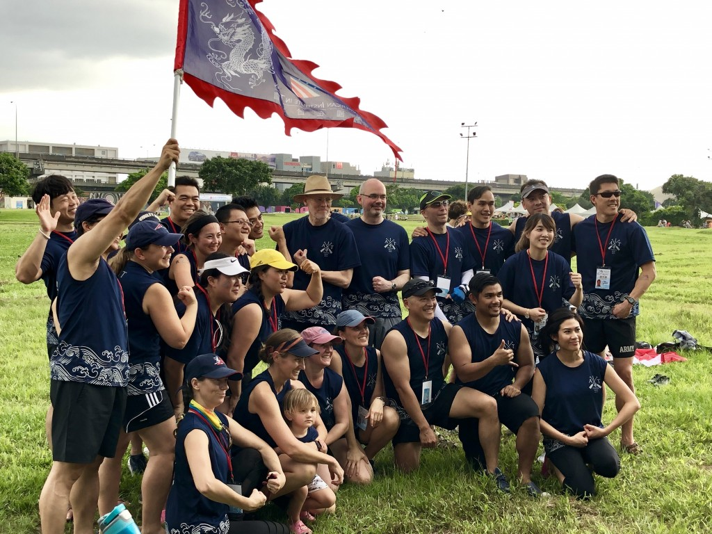 The AIT Dragon Boat racing team with Director Brent Christensen (center, with straw hat).