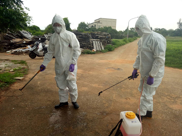 Bureau of Animal and Plant Health Inspection and Quarantine disinfect sites in Kinmen