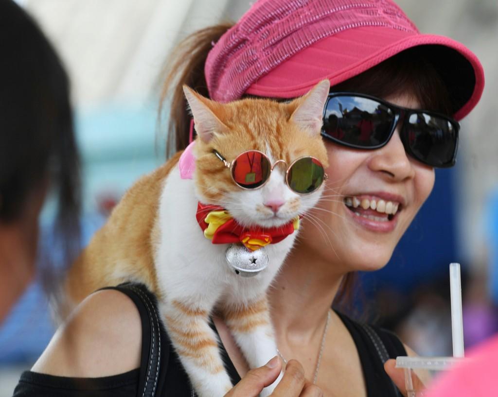Fighting the harsh sunlight in Taiwan Saturday June 8.