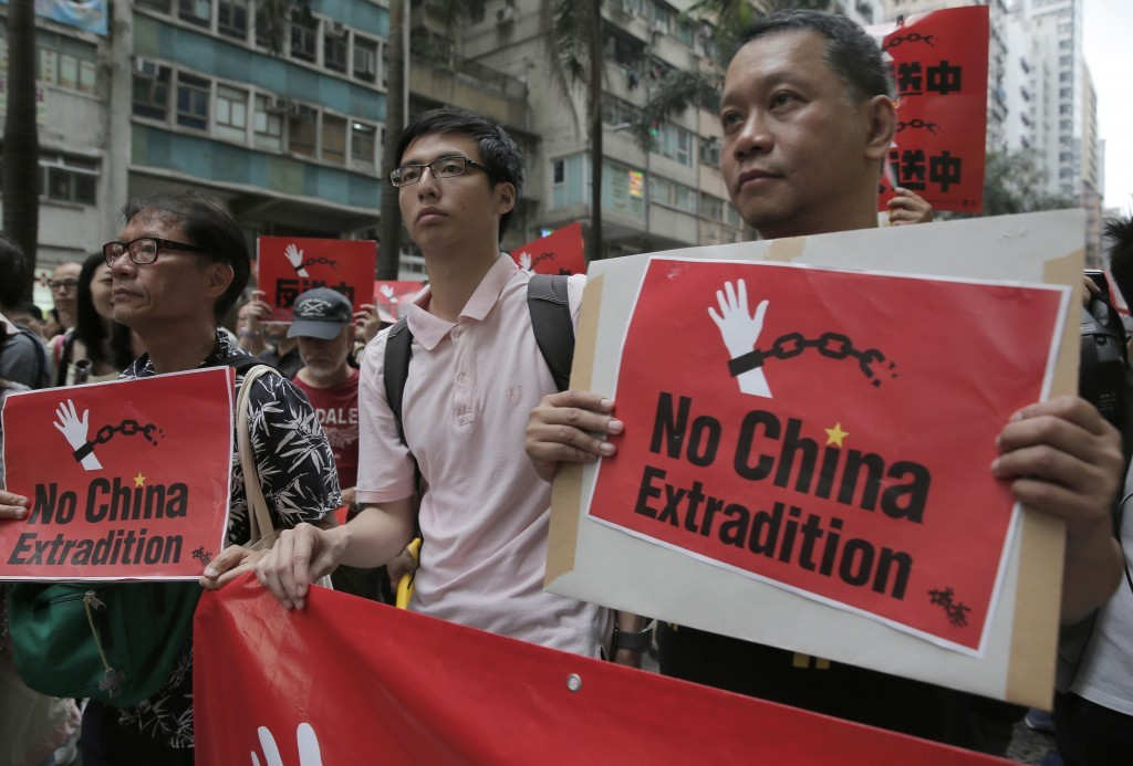 Activists in April protesting proposed Extradition Law amendments