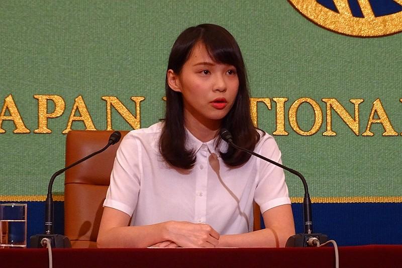 有「學民女神」稱號的香港青年領袖周庭10日在東京召開記者會...