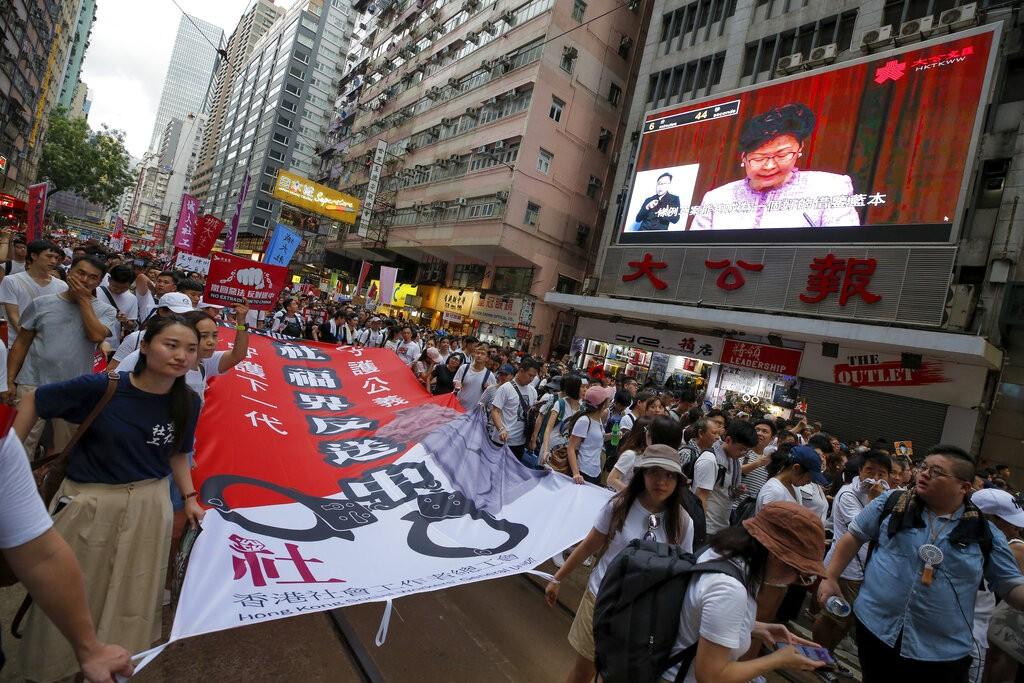香港反送中修法遊行(圖/ AP)
