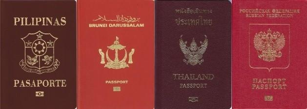 Philippines, Brunei, Thailand, and Russia passports. (Wikipedia photos)
