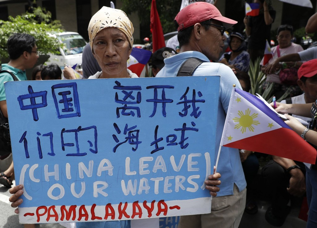 Protester outside Chinese Consulate in Manila, June 12