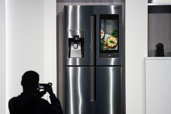 A smart refrigerator at a trade show