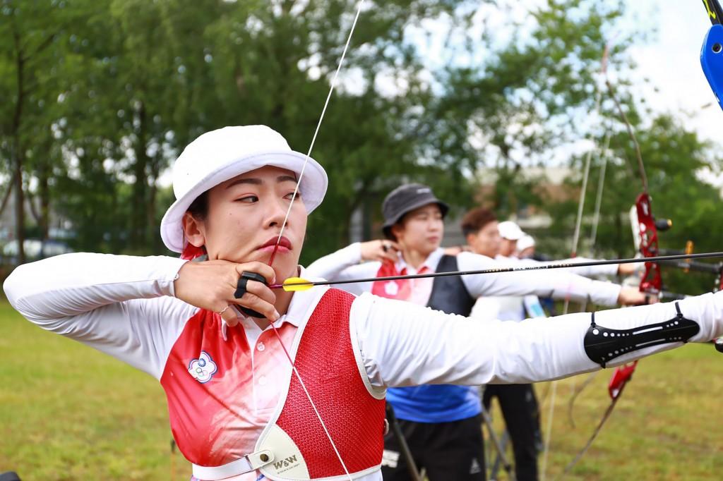 2019世界射箭錦標賽的台灣射箭女將譚雅婷(前)(圖/中央社)