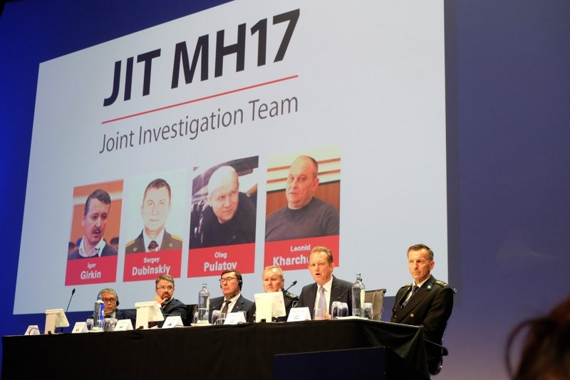 Joint Investigation Team appear at a press conference in Nieuwegein, Netherlands, on Wednesday