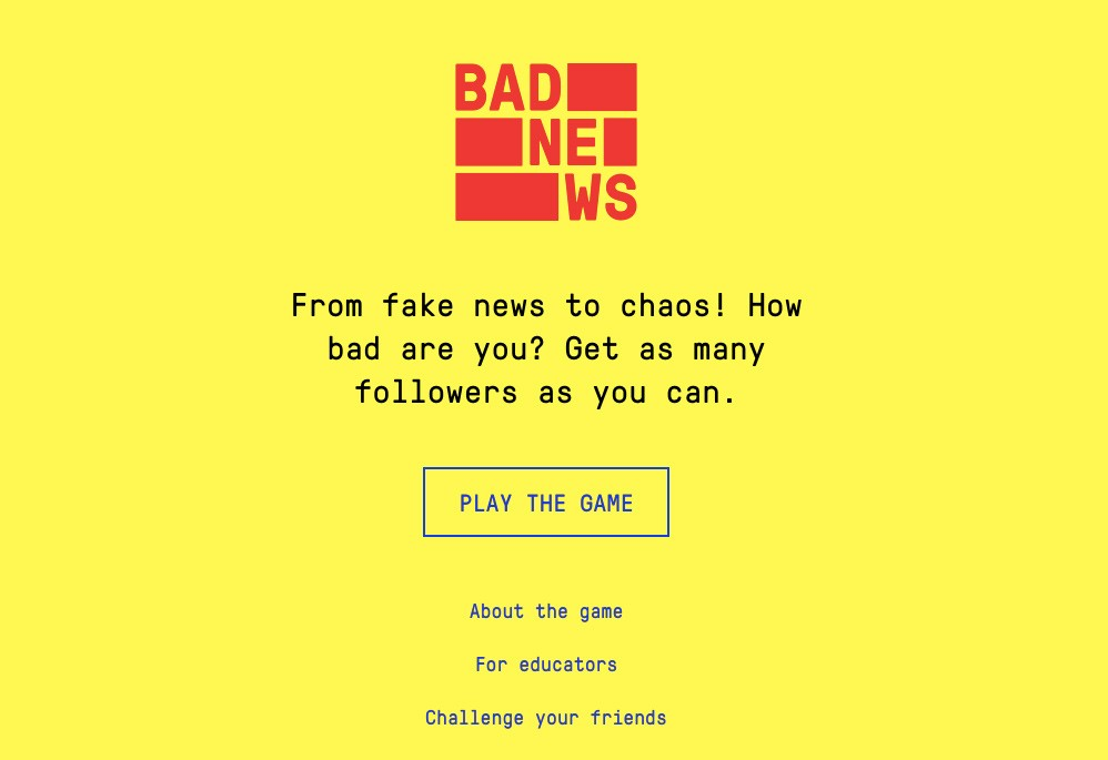 英國劍橋研發遊戲有效打擊「假消息」(圖/Bad News官網)