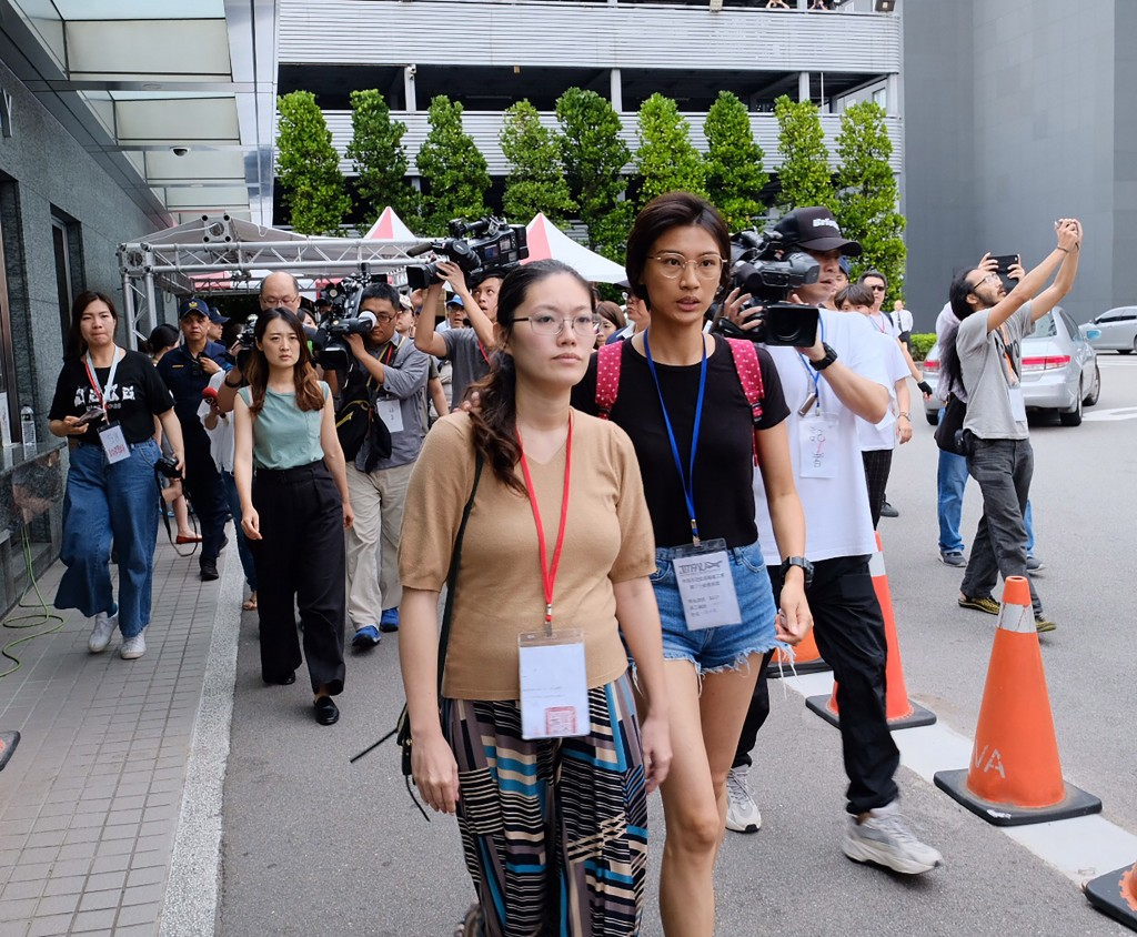 Flight attendant union representatives leaving talks with the EVA Air chairman Friday afternoon