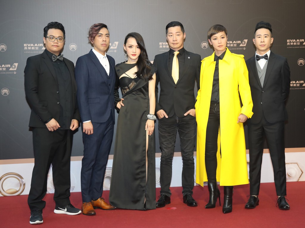 Hong Kong star Denise Ho (second from right) with Chthonic at the Golden Melody Awards.