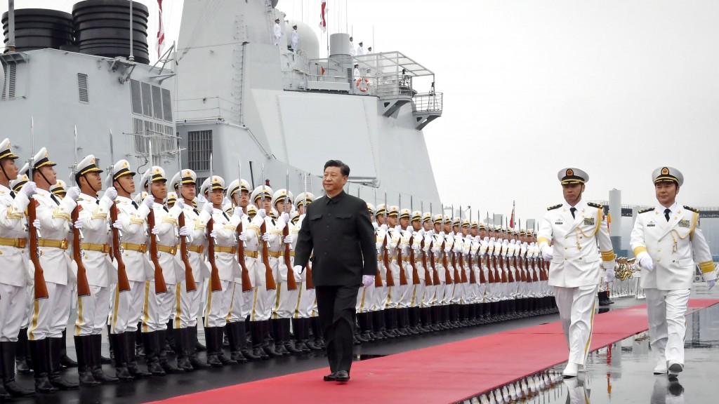 Chairman Xi Jinping reviews honor guard before boarding destroyer Xining in Qingdao, April 2019