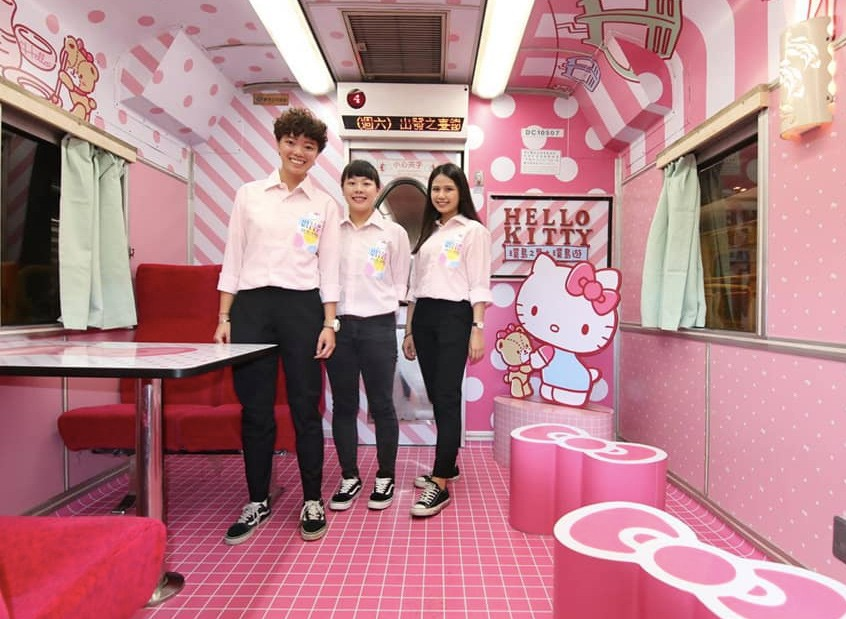 Taiwan Railways launch Hello Kitty tourist train. (The Taiwan Railways photo)