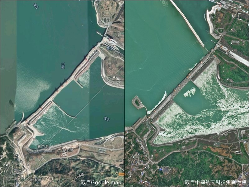 Google Maps image (left), CASC map (right).