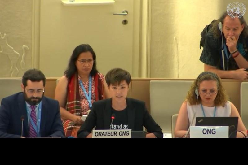 香港歌手何韻詩8日在聯合國人權理事會發言 (圖取自聯合國人...