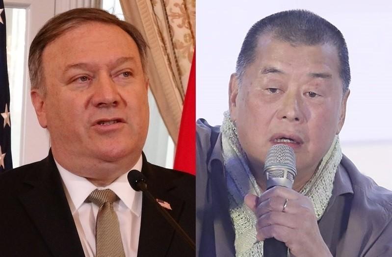 美國國務卿蓬佩奧(左)8日在華府接見香港壹傳媒集團創辦人黎智英(右),討論香港逃犯條例發展,以及香港在「一國兩制」框架下的自治地位。(中央