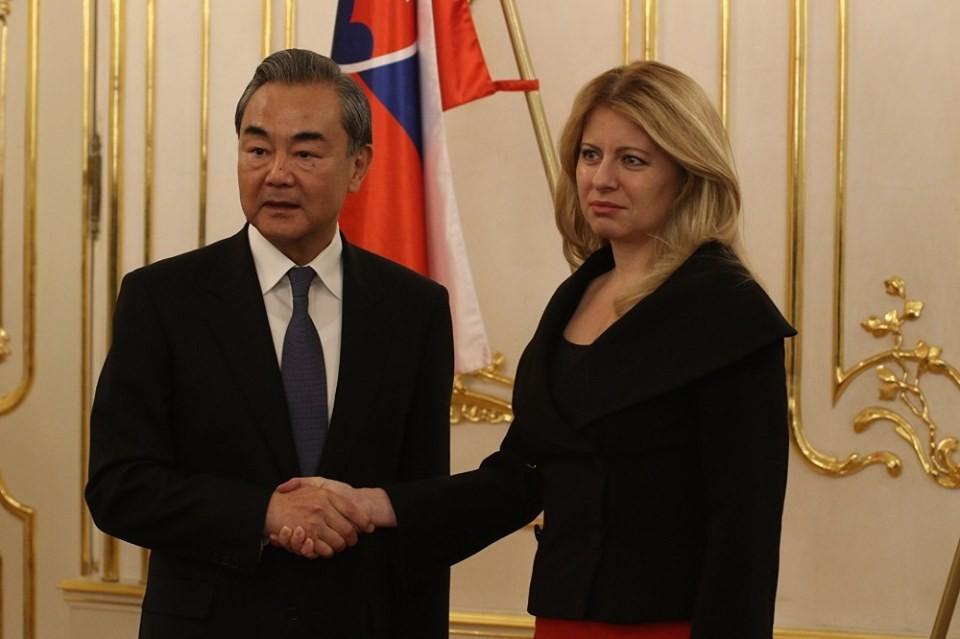 China's Foreign Minister Wang Yi with Slovakia's President Zuzana Caputova (Photo from Caputova's FB page)