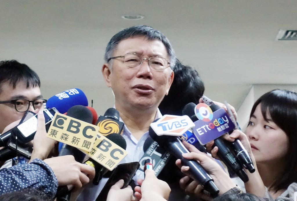 Taipei City Mayor Ko Wen-je replying to reporters' questions Thursday July 11.