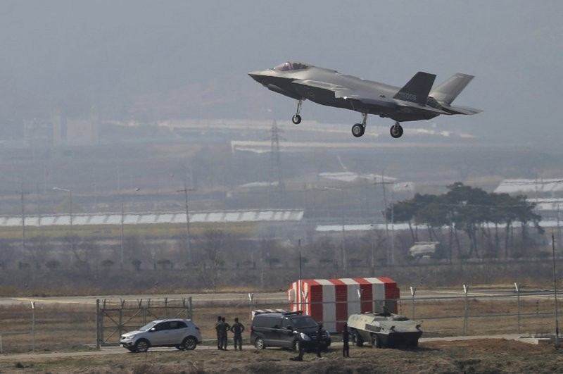 A U.S. F-35A fighter jet prepares to land at Chung...