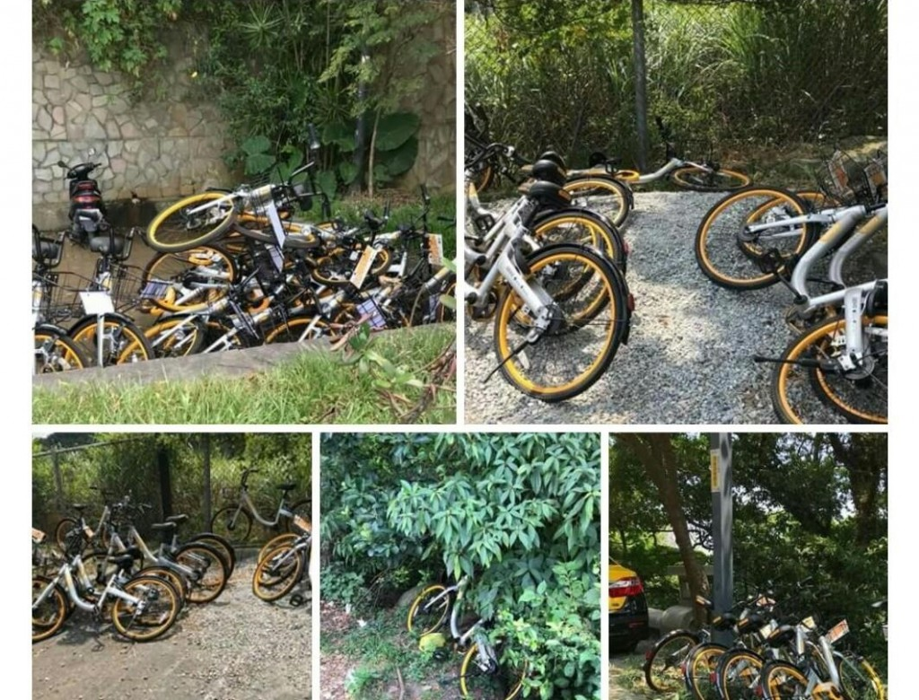 Discarded oBikes. (Photos from Facebook group 爆料公社)