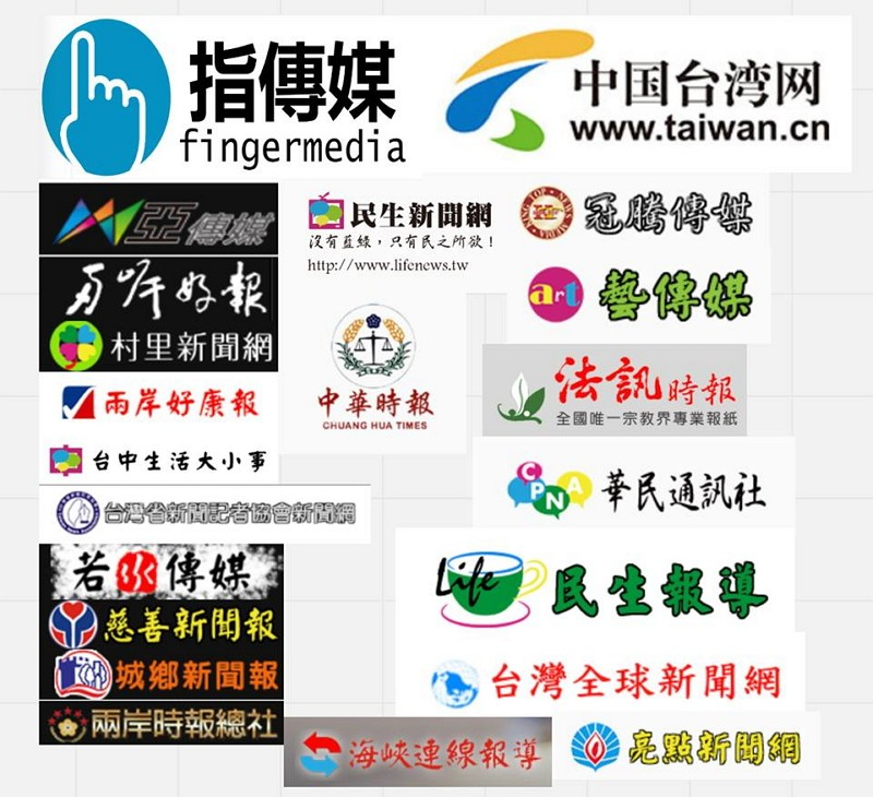 Logos of the suspicious pro-China websites (Facebo...