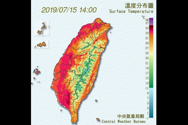CWB map of today's scorching temperatures.