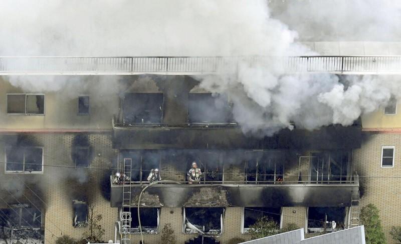 日本動畫製作公司「京都動畫」位於京都市伏見區的工作室在日本時間今早10點半左右發生火災。圖/美聯社。