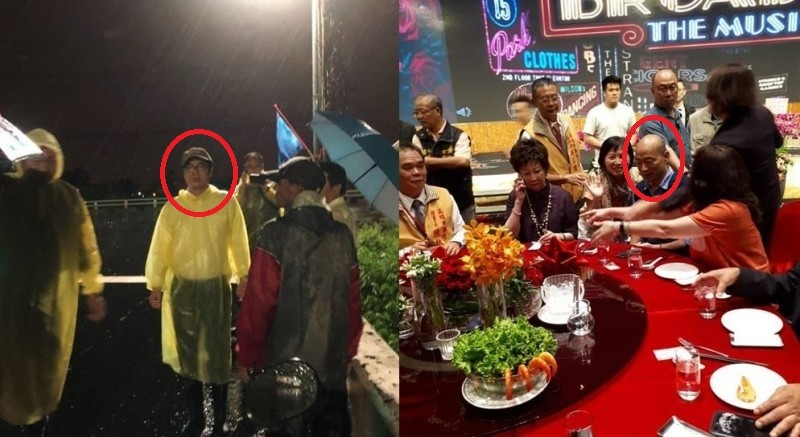 Chen (left) and Han (right) during downpour. (Facebook photos)