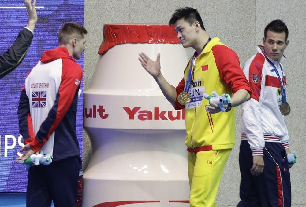 Sun Yang confronts fellow swimmer Duncan Scott, July 23