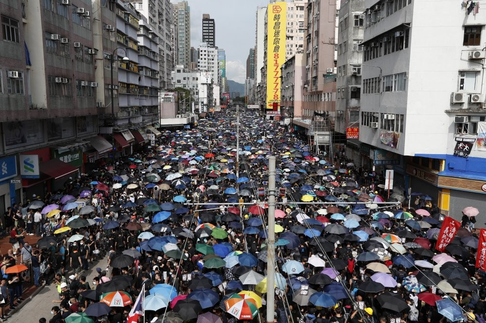 Hong Kong protesters in the Yuen Long area Saturday July 27, 2019