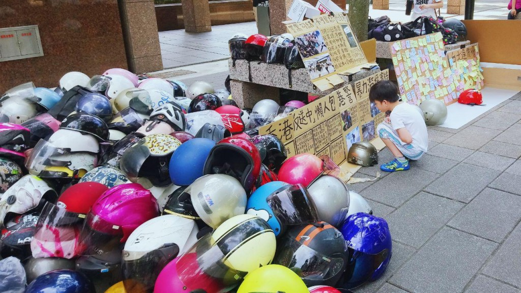 Helmets collected in Taipei will be sent to Hong Kong (Source: Hong Kong Outlanders)