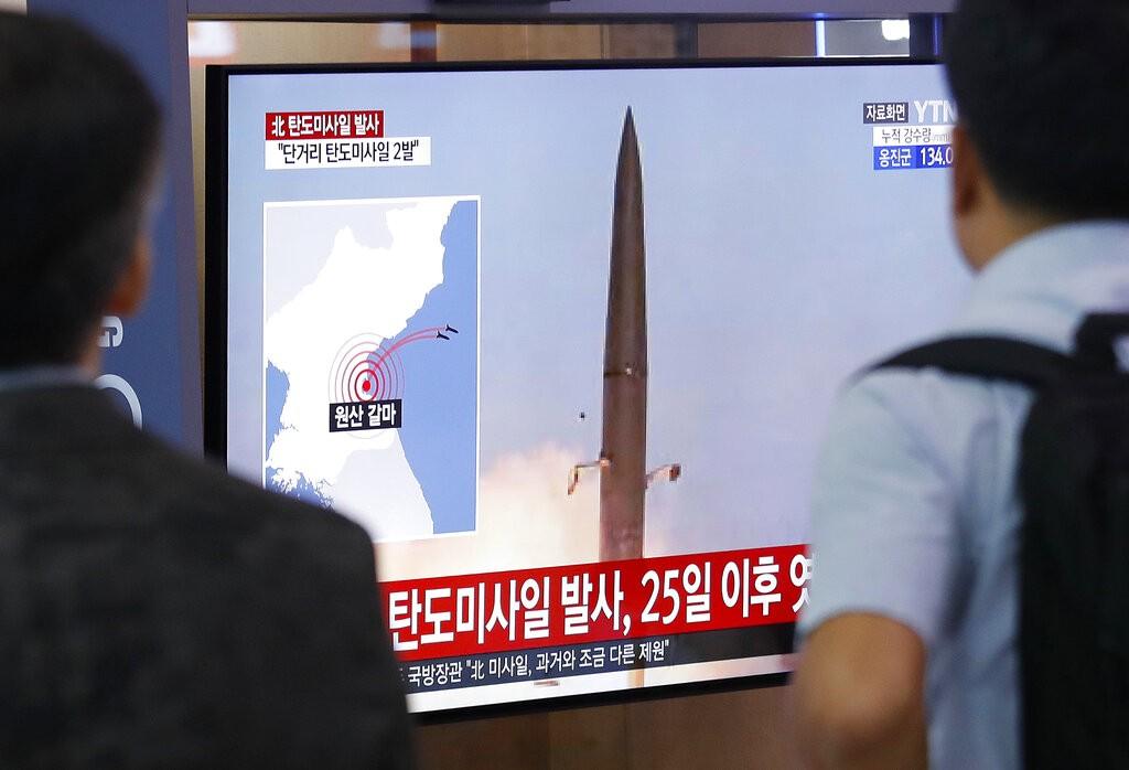 韓國電視報導「25日以後,短程飛彈發射」(圖/AP)