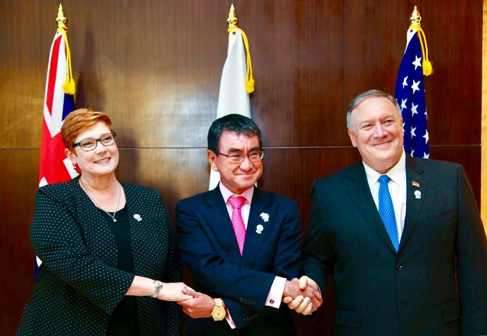 Australian Foreign Minister Marise Payne (L), Japanese Foreign Minister Taro Kono (C), and U.S. Secretary of State, Mike Pompeo (R) (Photo from Marise...