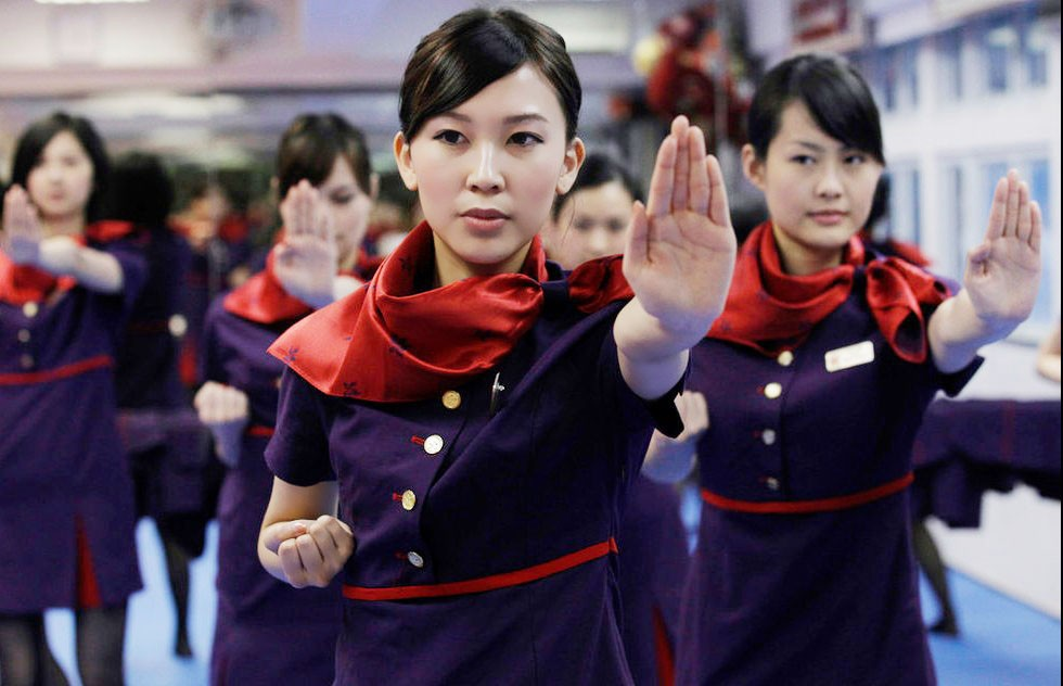 File photo: Hong Kong Airlines flight attendants practice Wing-chun