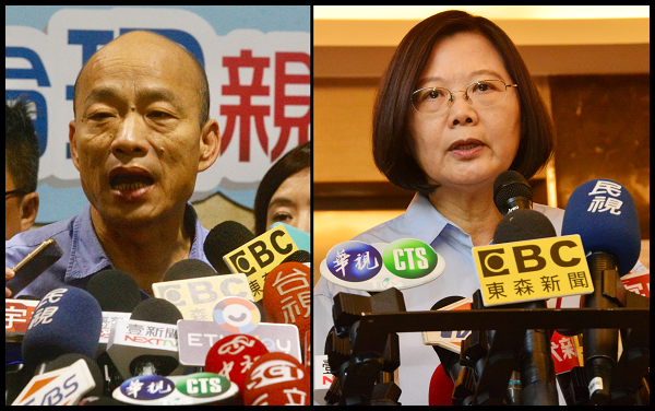 File photos: Kaohsiung Mayor Han Kuo-yu and Taiwan President Tsai Ing-wen