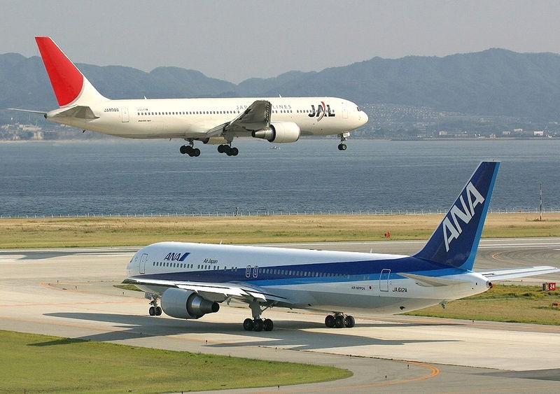 JAL 767-346 and ANA 767-381ER at Osaka Intl. Airport