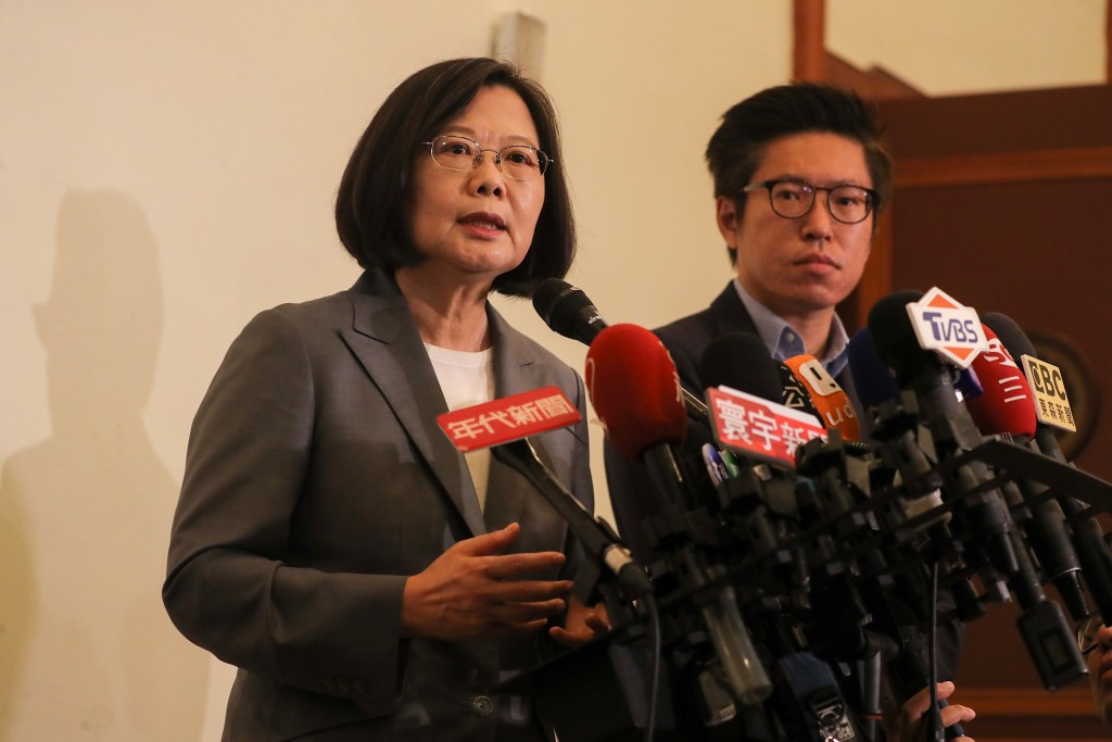 President Tsai Ing-wen (left) replying to questions from reporters Tuesday August 6.